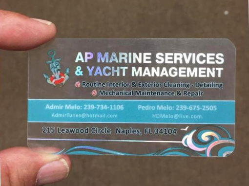 Quality Clear Plastic Business Cards Naples Fl Ap Marine Services