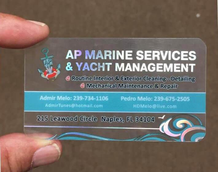Quality Plastic Business Cards Naples Fl Ap Marine Services