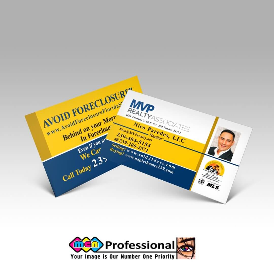 Real State Business Cards Naples Fl For Realtors And Property Agents - Mvp Realty
