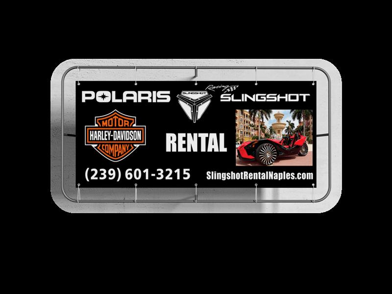 custom business vinyl banner slingshot rental