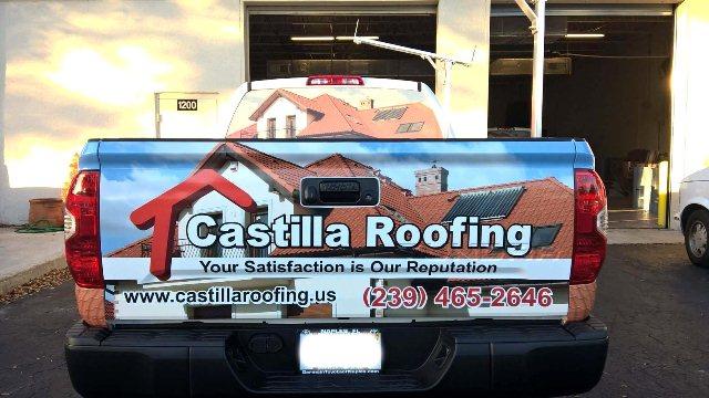 pickup truck semi wraps castilla roofing
