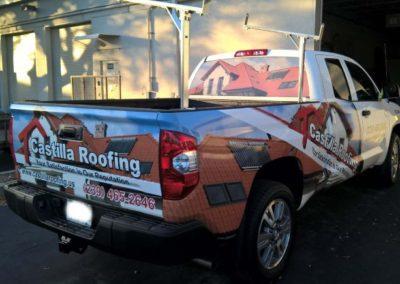 castilla roofing pickup truck semi wraps
